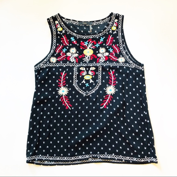 46963b865d Anthropologie Tops | Thml Black Embroidered Sleeveless Top Sz Small ...